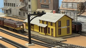A train travels through the town of Rice Lake on Bob Wundrock's model railroad.