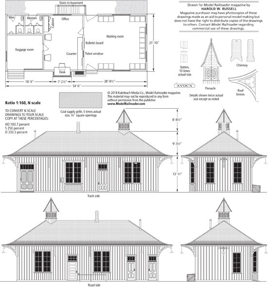 Drawings for a small-town train depot ... on warehouse house plans, school house plans, hotel house plans, mill house plans, bank house plans, round barn house plans, library house plans, colonial house house plans, lookout tower house plans, hunting lodge house plans, church house plans,